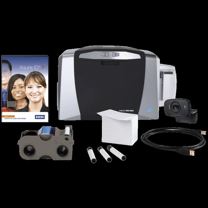 Ausweissysteme, Ausweissystem HID FARGO DTC1000 Bundle Farbband, Webcam, Reinigungsset, Asure ID Kartensoftware