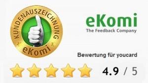 Super Kundenbewertung zum Thema Plastikkarten drucken auf dem Kundenbewertungsportal eKomi.