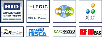 Official partners HID Global, Legic, NXP Mifare, Jolly Tech, Swiftcolor, Nisca, Cardpresso, RFIDEAS
