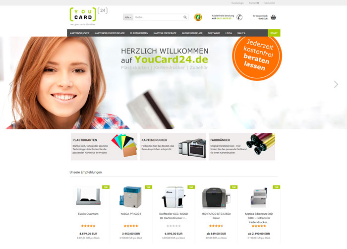 Redesign Onlineshop YouCard24.de